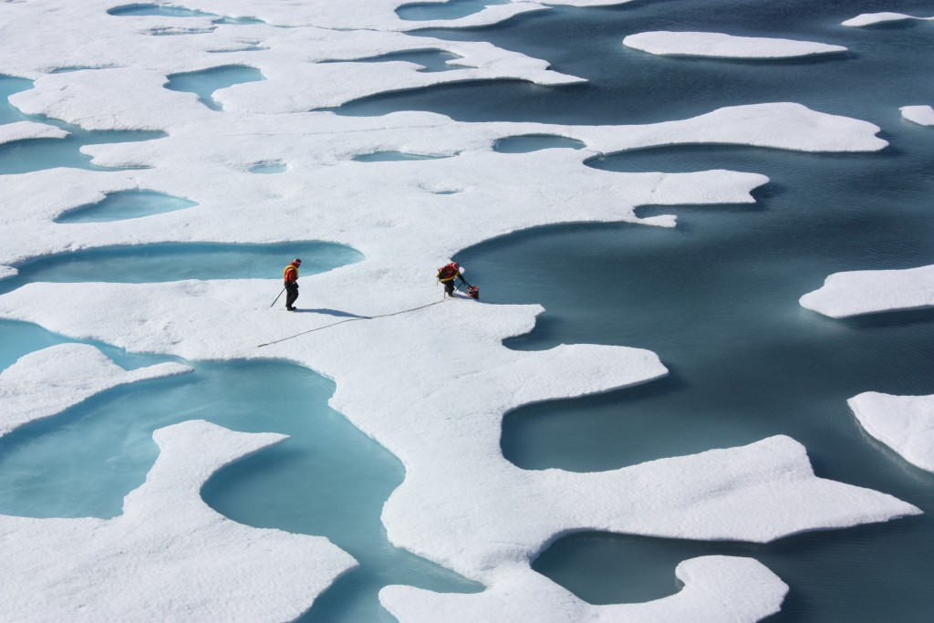 """On July 12, 2011, crew from the U.S. Coast Guard Cutter Healy retrieved a canister dropped by parachute from a C-130, which brought supplies for some mid-mission fixes. The ICESCAPE mission, or """"Impacts of Climate on Ecosystems and Chemistry of the Arctic Pacific Environment,"""" is a NASA shipborne investigation to study how changing conditions in the Arctic affect the ocean's chemistry and ecosystems. The bulk of the research took place in the Beaufort and Chukchi seas in summer 2010 and 2011. Credit: NASA/Kathryn Hansen NASA image use policy. NASA Goddard Space Flight Center enables NASA's mission through four scientific endeavors: Earth Science, Heliophysics, Solar System Exploration, and Astrophysics. Goddard plays a leading role in NASA's accomplishments by contributing compelling scientific knowledge to advance the Agency's mission. Follow us on Twitter Like us on Facebook Find us on Instagram"""