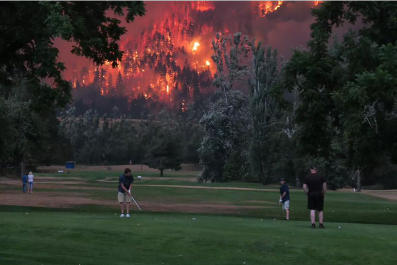 golfers during California wildfires