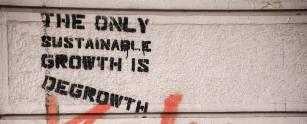 """graffiti """"The only sustainable growth is degrowth"""""""